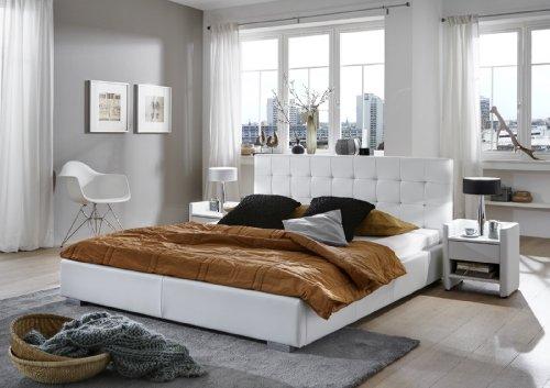 SAM® Polsterbett Innocent Miso 140 x 200 cm weiß im modernen abgesteppten Design Wasserbett geeignet teilzerlegt Auslieferung mit Spedition