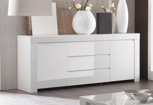Sideboard Amalfi 2-türig und 3 Schubkasten, 190 x 84 x 50 cm, weiß hochglanz