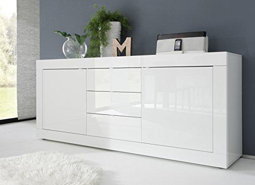 Sideboard Basic 2-türig und 3 Schubkasten, 210 x 86 x 43 cm, weiß hochglanz