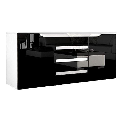 Sideboard Kommode Sylt in Weiß / Schwarz Hochglanz mit Absetzungen in Weiß Hochglanz