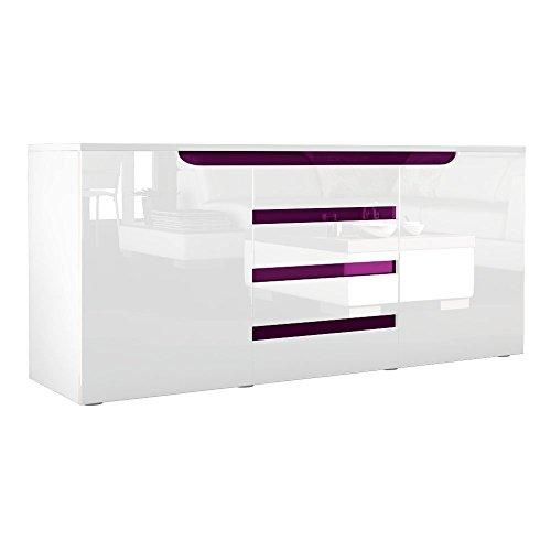 Sideboard Kommode Sylt in Weiß / Weiß Hochglanz mit Absetzungen in Brombeer Hochglanz