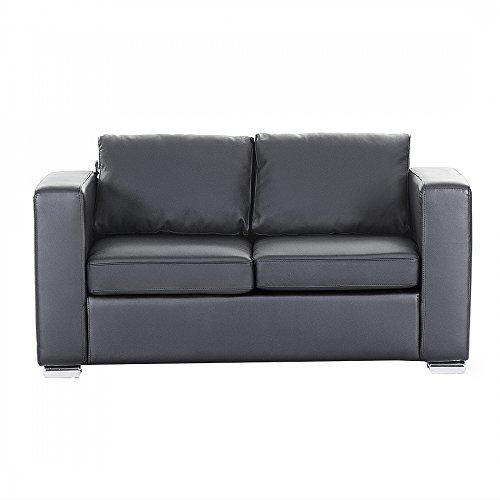 sofa couch schwarz ledersofa 2 sitzer helsinki m bel24. Black Bedroom Furniture Sets. Home Design Ideas