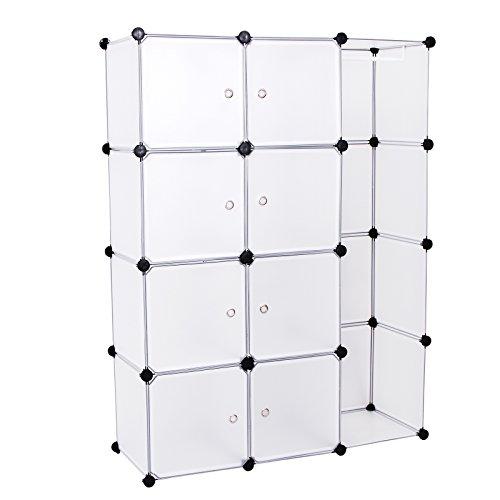 Songmics DIY Kleiderschrank Garderobenschrank Steckregalsystem Kapazität 590L Weiß 145 x 110 x 37 cm LPC30BW