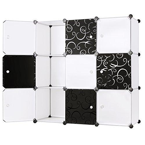 Songmics® Regalsystem Garderobenschrank Wäscheschrank Steckschrank Kleiderschrank Aufbewahrung Kapazität 450L Schwarz + Weiß LPC33W