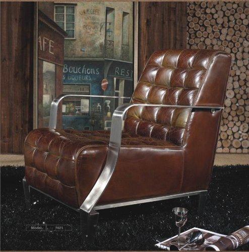 Vintage Echtleder Sessel Edelstahl Ledersessel Design Sofa Lounge Möbel NEU 448
