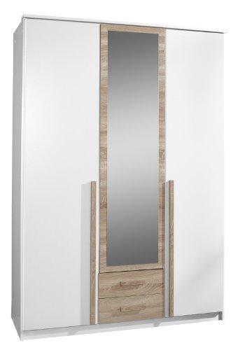 Wimex 030484 Drehtürenkleiderschrank# 198 x 135 x 58 cm, Absetzung Eiche-sägerau-Nachbildung, Front und Korpus alpinweiß