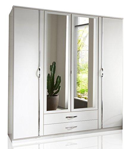 Wimex 078453 Kleiderschrank 4-türig mit zwei Schubkästen und zwei Spiegeltüren, alpinweiß / aufleistungchrom