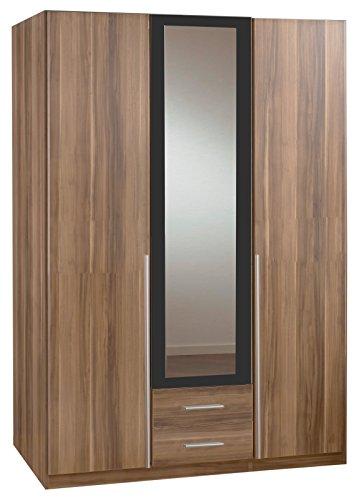 Wimex 154484 Kleiderschrank Skate, 3-türig mit zwei Schubkästen und einer Spiegeltür, Korpus Französisch Nussbaum Nachbildung, 135 x 198 x 58 cm, anthrazit