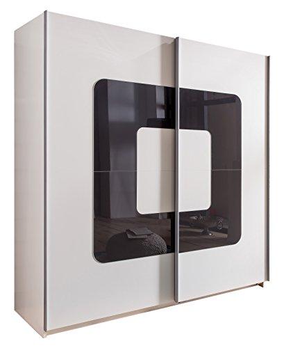 Wimex 190771 Schwebetürenschrank, Alpinweiß, 180 x 198 x 64 cm, Absetzung Glas, grau