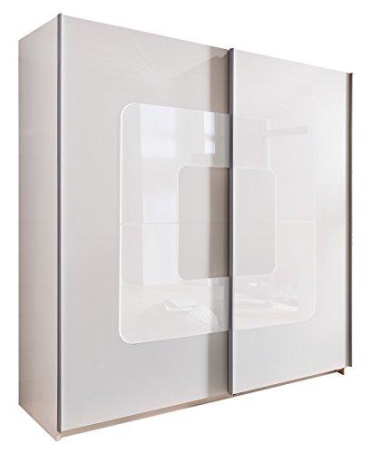 Wimex 195771 Schwebetürenschrank, Alpinweiß, 180 x 198 x 64 cm, Absetzung Glas, weiß