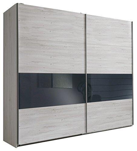 Wimex 810864 Schwebetürenschrank, Weißeiche Nachbildung, 225 x 210 x 65 cm, Absetzung Glas, grau