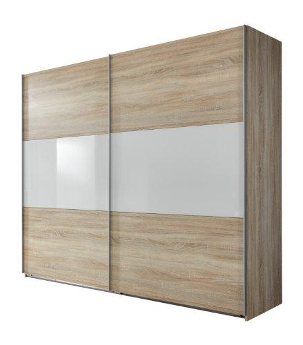 Wimex 960811 Schwebetürenschrank 270 x 236 x 65cm, Front und Korpus Eiche Sägerau Nachbildung / Absetzungen Glas Weiß
