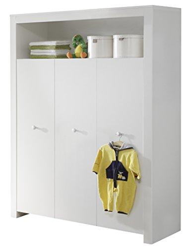 trendteam BZO61301 Babyzimmer Kleiderschrank weiss, BxHxT 130x186x54 cm