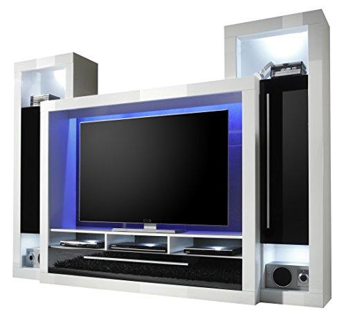 trendteam MX92102 Wohnwand TV Möbel weiss Hochglanz, Absetzungen schwarz Hochglanz BxHxT 239x172x40 cm