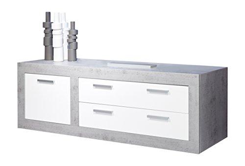trendteam PE31635 TV Möbel Lowboard weiss Hochglanz, Absetzungen Beton Industry, BxHxT 180x69x50 cm