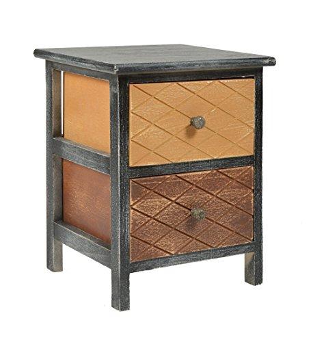 ts-ideen Kommode Schrank shabby schwarz Nachttisch 2 Schubladen braun beige Schlafzimmer Wohnzimmer Kinderzimmer Badezimmer oder Büro