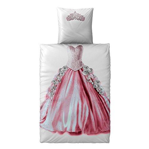 2-teilige Kinder-Jugend-Bettwäsche   verschiedene Motive für Jungen und Mädchen   Größe 135 x 200 cm   Motiv Prinzessin   2 tlg. Baumwolle Renforcé   CelinaTex 5000391   rosa pink