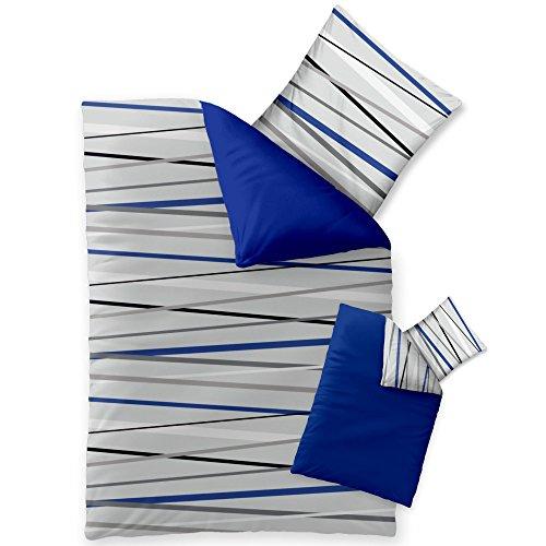 2-teilige Sommer-Bettwäsche   4 Jahreszeiten 135 x 200 cm   Mikrofaser 2 tlg.   CelinaTex Harmony 0002474   Larissa Streifen grau blau