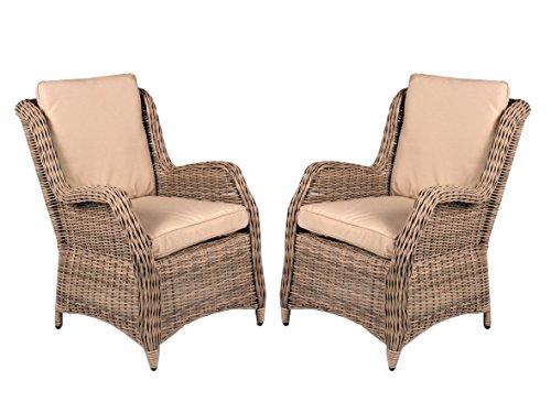 2er Set Polyrattan Sessel beige grau inkl Kissen Gartenstuhl Esszimmer hochwertig Polyrattansessel 2 Stück