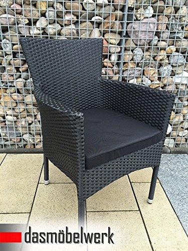"""2er Set Polyrattan Stapelstuhl Lounge Sessel Gartenstuhl Balkonstuhl """"Hawai"""" in schwarz mit Sitzkissen"""