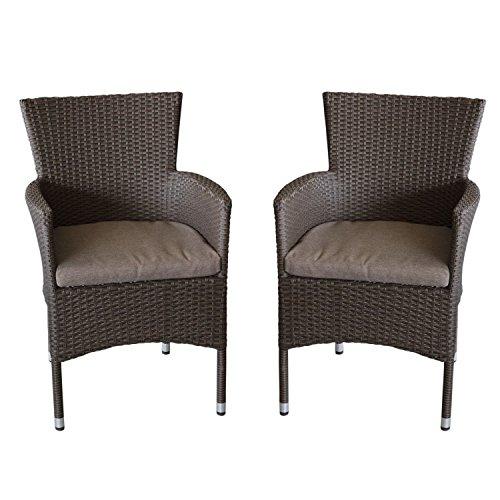 2x Polyrattan Sessel stapelbar Rattansessel braun-meliert inklusive Sitzkissen Gartensessel Stapelstuhl Gartenstuhl Rattanstuhl Rattansessel Terrassenmöbel Balkonmöbel Gartenmöbel