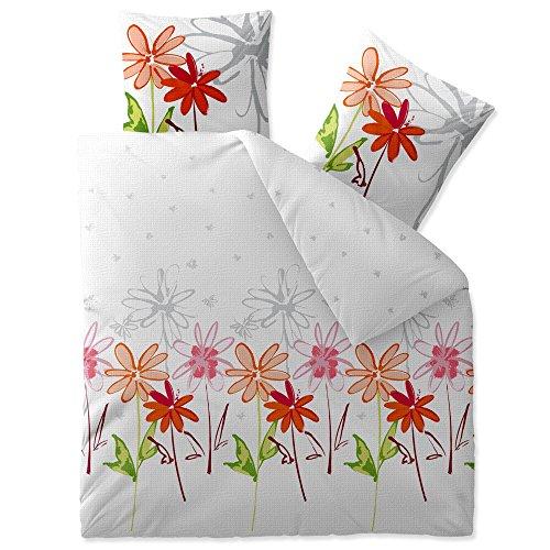 3 teilige CelinaTex Sommer-Bettwäsche   100% Baumwolle Seersucker Marken Qualität   200 x 200 cm Serie Enjoy 3-tlg.   Design Ayana weiß grün orange rot Blumen
