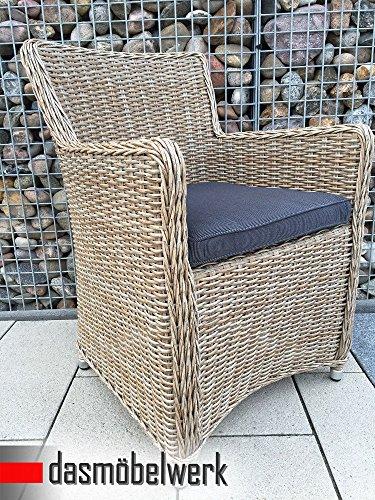"4 Stück Set Polyrattan Lounge Sessel Gartenstuhl Balkonstuhl ""Lilie"" Rattan Stuhl in Natur - Cappuccino mit Sitzkissen"