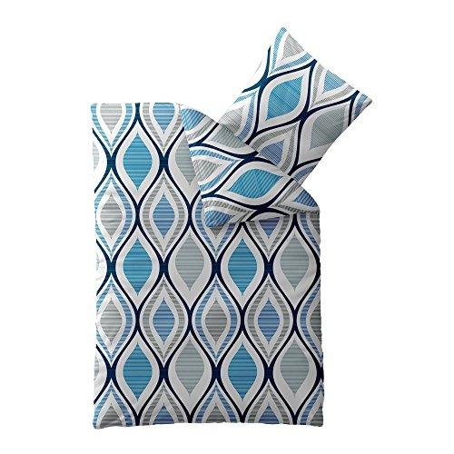 4-teilig   2 x 2teilig Sommer-Bettwäsche   4 tlg. SPARSET 135 x 200 cm 4-Jahreszeiten   Concept Katja   gemustert grau weiß blau