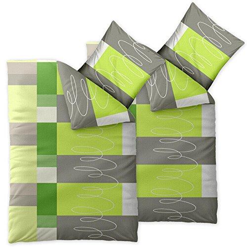4 teilige CelinaTex Sommer-Bettwäsche   100% Baumwolle Seersucker Marken Qualität   135 x 200 cm Serie Enjoy 4-tlg.   Design Ellen hell grün grau weiß Kacheln