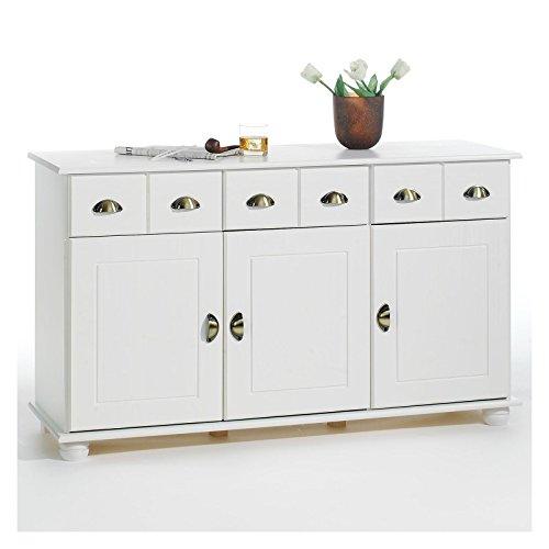 Apothekerkommode Kommode Anrichte Apothekenschrank Sideboard COLMAR, Kiefer massiv, in weiß