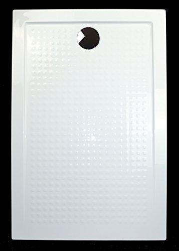 Art-of-Baan® - Extra flache Duschtasse, Duschwanne aus Acryl, Antirutsch (ABS) Weiß Hochglanz; 140x80x3,5cm inkl. Ablaufgarnitur