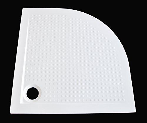 Art-of-Baan® - Extra flache Duschtasse, Duschwanne aus Acryl, Viertelkreis Antirutsch Weiß; 90x90x3,5cm inkl. Ablaufgarnitur