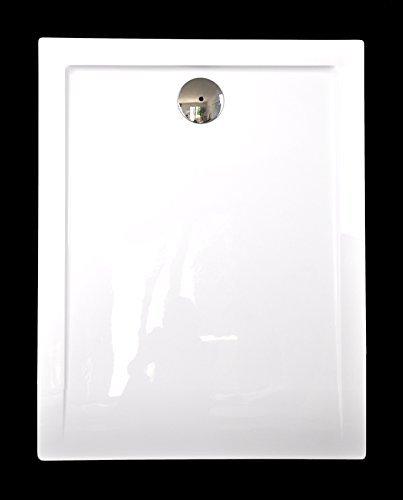 Art-of-Baan®- Extra flache Duschtasse, Duschwanne aus Acryl, glatt Weiß Hochglanz; 100x80x3,5cm inkl. Ablaufgarnitur