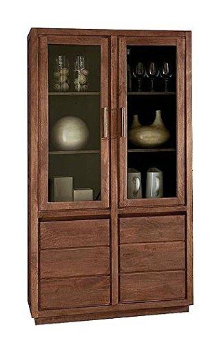 Ascada Lino Vitrine 2-türig 102x183x43cm Massivholzmöbel aus Mangoholz, Glasvitrine Schrank