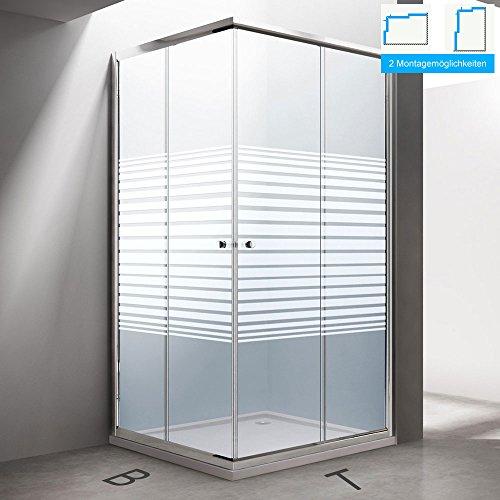 BTH: 100x80x190cm Design Duschabtrennung Ravenna14S, ESG-Sicherheitsglas Milchglas streifen, inkl. Nanobeschichtung, Eckdusche