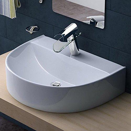 BTH: 60x44x16 cm Design Aufsatzwaschbecken / Hängewaschbecken Brüssel896, aus Keramik, Waschbecken, Waschtisch, Waschplatz, Waschschale