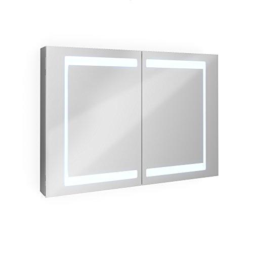 Badezimmer Spiegelschrank Aluminium Bad Schrank LED Steckdose Spiegel innen 100 cm