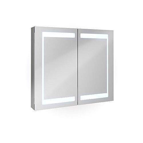 Badezimmer Spiegelschrank Aluminium Bad Schrank LED Steckdose Spiegel innen 80 cm