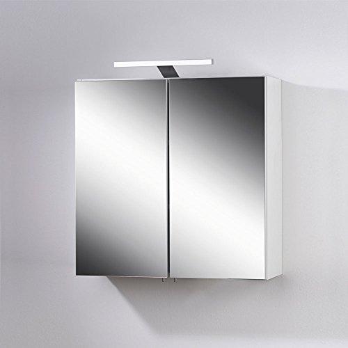 Badezimmer Spiegelschrank mit LED Leuchte Weiß Pharao24