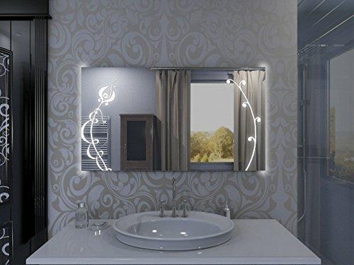Badspiegel mit Beleuchtung Fleurir F131L2V: Design Spiegel für Badezimmer, beleuchtet mit LED-Licht, modern - Kosmetik-Spiegel Toiletten-Spiegel Bad Spiegel Wand-Spiegel