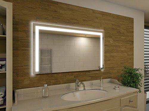 Badspiegel mit Beleuchtung Green Bay M83L3: Design Spiegel für Badezimmer, beleuchtet mit LED-Licht, modern, groß, ohne Rahmen, rahmenlos - Kosmetik-Spiegel Toiletten-Spiegel Bad Spiegel Wand-Spiegel mit Beleuchtung