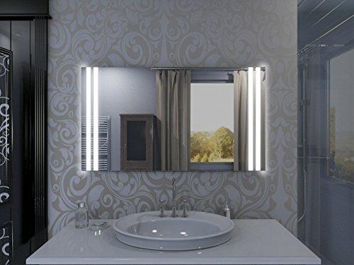 Badspiegel mit Beleuchtung Manchester M213L2V: Design Spiegel für Badezimmer, beleuchtet mit LED-Licht, modern - Kosmetik-Spiegel Toiletten-Spiegel Bad Spiegel Wand-Spiegel