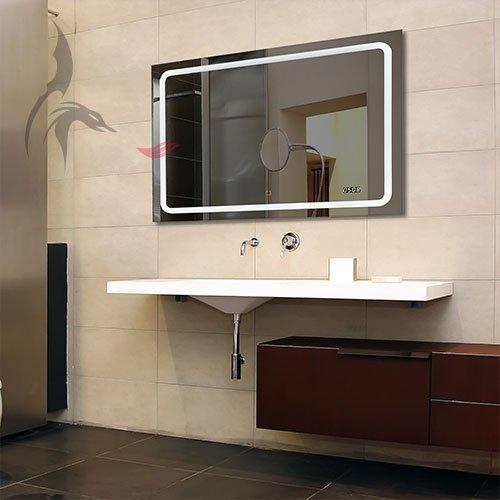badspiegel mit uhr bruchsal 80x60cm badezimmerspiegel mit licht energieklasse a m bel24. Black Bedroom Furniture Sets. Home Design Ideas
