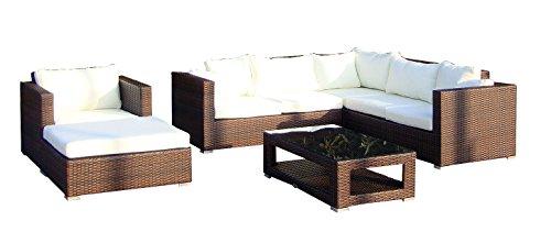 Baidani Gartenmöbel-Sets 10c00020.00002 Designer Lounge-Wohnlandschaft Sunset, Eck-Sofa, 1 Sessel, 1 Hocker, 1 Couchtisch mit Glasplatte, braun