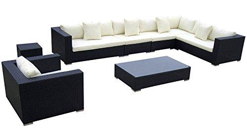 Baidani Rattan Lounge-Garnitur Sun-Master, 25-teilig, schwarz