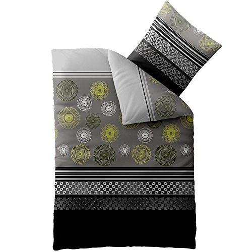 Bettwäsche Microfaser 155x220 Concept Azelia schwarz grau mit Reißverschluss