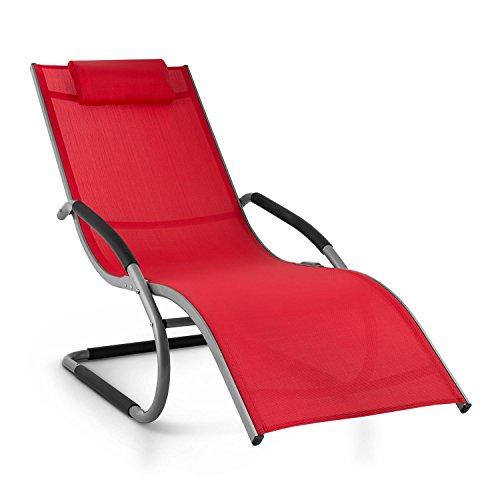 Blumfeldt Sunwave Garten Liegestuhl Gartenliege Sonnenliege Bäderliege (Aluminium-Rahmen, Kopfkissen, atmungsaktive) rot