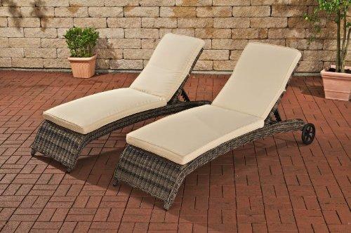 clp 2x polyrattan sonnenliege asti inkl dicken auflagen sehr bequemes sonnenliegen set grau. Black Bedroom Furniture Sets. Home Design Ideas