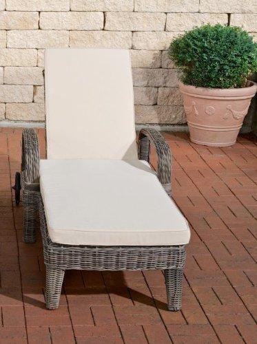 CLP Luxus Sonnenliege LUINI mit Rollen, 6 fach verstellbarer Rückenlehne, INKL. 5,5 cm dicken Auflagen, Premiumqualität (5 mm Rundrattan) grau meliert, 5mm Rattan