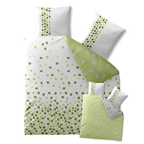 CelinaTex 0003355 Bettwäsche 200 x 220 cm Baumwoll-Renforcé OEKO-TEX Fashion Ilona Weiß Grün Punkte Wende-Design